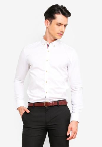UniqTee 白色 鈕釦牛津襯衫 26159AAD0A2698GS_1