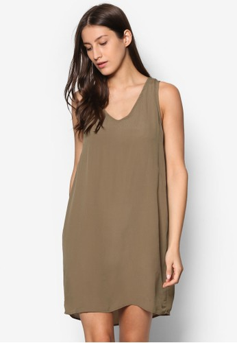 Vinilla V 領無esprit官網袖連身裙, 服飾, 洋裝