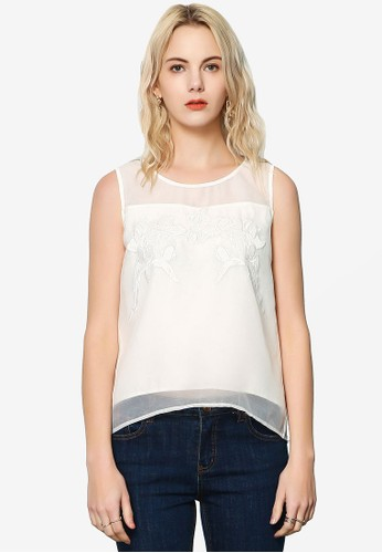 Hopeshow white Sleeveless Tank Top with Embroidery B3D66AAC776072GS_1
