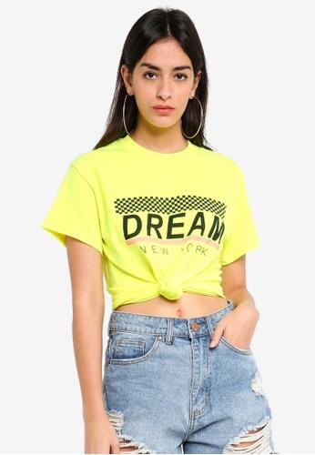 MISSGUIDED yellow Dream New York Slogan T-shirt 0234AAAAA50D1FGS_1