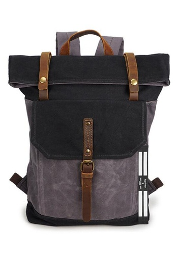 Twenty Eight Shoes Vintage Leather Wax Canvas Backpack 5191-1 8F668AC9A01329GS_1