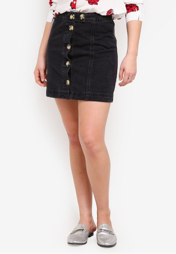 Cotton On black The Re-Made Mini Denim Skirt 6691EAA1EB64FAGS_1