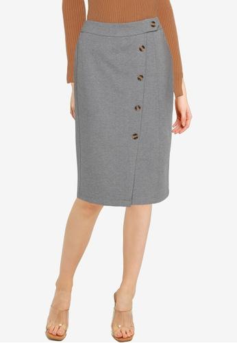 Nichii 灰色 Split Front Skirt 6CB0EAAAAF7FC4GS_1
