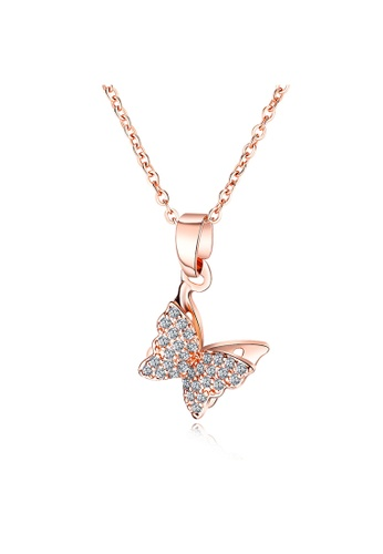 YOUNIQ YOUNIQ BUTEY Butterfly 18K Rosegold Titanium Steel Necklace with White Cubic Zirconia Stone 09B22AC5082015GS_1