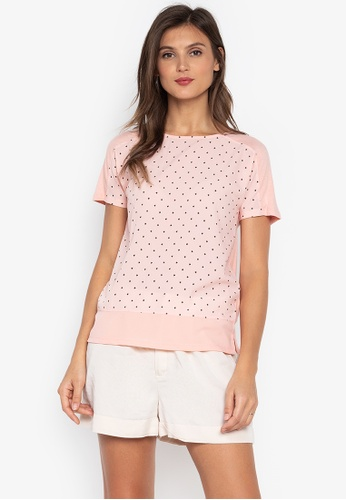 MARKS & SPENCER pink Printed Short Sleeve Woven Front Tee 40743AA4B15CABGS_1