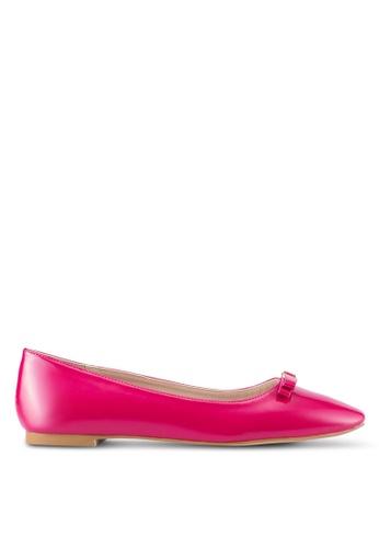 Velvet 粉紅色 Square Toe Ballet Flats 43E16SH7C0D85DGS_1