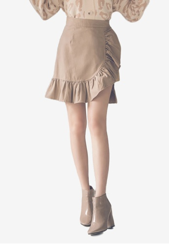 Yoco beige Ruffle Splice Mini Skirt 36DB1AAA7E4738GS_1