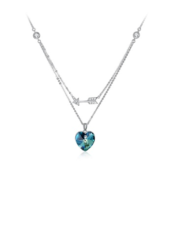 Glamorousky blue 925 Sterling Silver Fashion Romantic Heart Shape and Heart Shape Necklace with Blue Austrian Element Crystal 91531ACF4D4E50GS_1