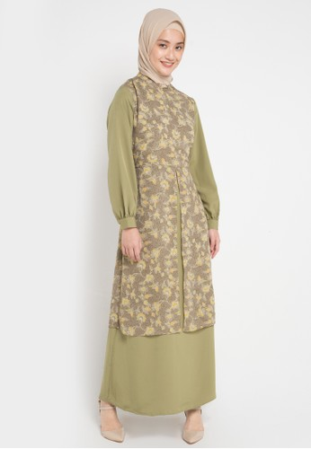 Korz green Double Layer Gamis 21363AA9D74EF2GS_1
