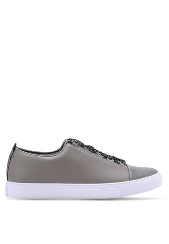 ZALORA grey Faux Leather Sneakers with Flat Lace CC3C1SH07A615CGS_1
