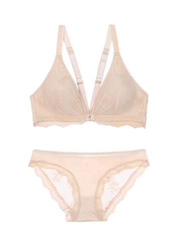 ZITIQUE beige Women's European Style 3/4 Cup Front Buckle Seamless Thin Pad Nylon Lingerie Set (Bra And Underwear) - Beige B8447USFBBB2F1GS_1
