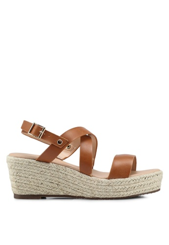 Dorothy Perkins brown Tan Reese Crossover Wedges A1E7ESH5EBBFFEGS_1