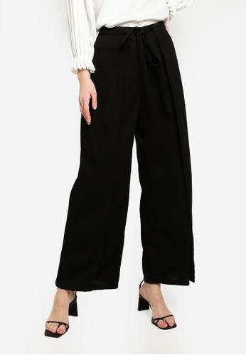 Zalia black Textured Front Tied Pants 2E07DAA99598F7GS_1
