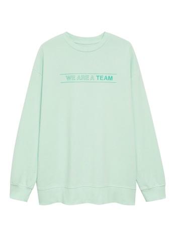 MANGO KIDS green Organic Cotton Messages Sweatshirt 45E21KA434F2F0GS_1
