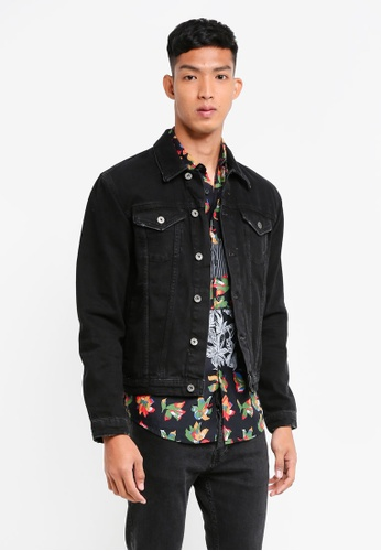 Topman 黑色 Black Denim Jacket C3673AA2C8A5FEGS_1