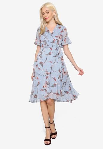 Hopeshow blue V-Neck Ruffle Floral Dress 194D4AADD6A003GS_1