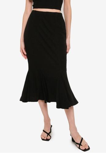 Mink Pink black Godet Midi Skirt 5A1E2AAB0014DAGS_1