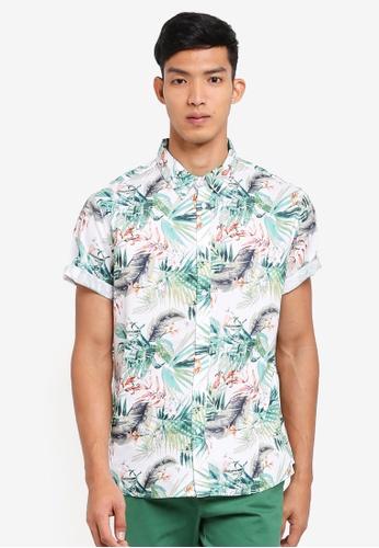 Burton Menswear London 白色 短袖花卉襯衫 A923DAAE3A9AE2GS_1