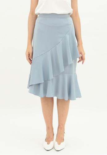 Love Knot blue Lily Ruffle Layered Skirt (Blue) 80035AA901DDF5GS_1