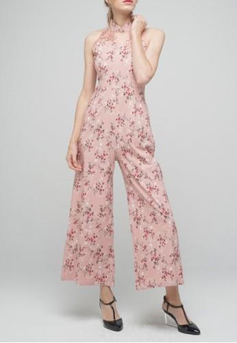 Megane pink Red Romance Jessamine Mandarin Collar Jumpsuit 2B365AA214C063GS_1