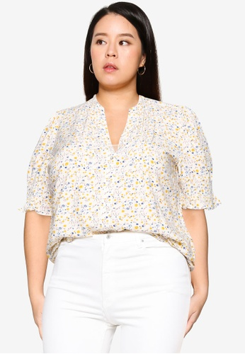 Vero Moda beige Plus Size Cila Short Sleeve Shirt 40519AA27DEE18GS_1