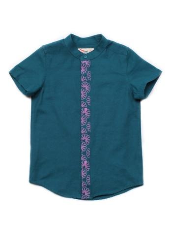 Mini Moley green Floral Patterned Print Mandarin Collar Short Sleeve Shirt E12D1KABED2373GS_1