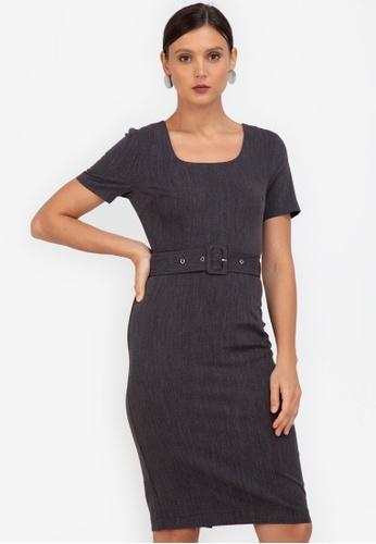 ZALORA WORK black Square Neck Self Tie Dress 93688AAC7EA175GS_1