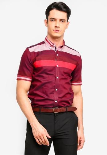 UniqTee 紅色 條紋印花襯衫 F1DA6AA03B65FFGS_1