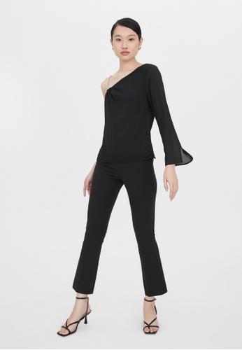 Pomelo black One Shoulder Chain Detail Blouse - Black 9DCD6AAAA2D45DGS_1