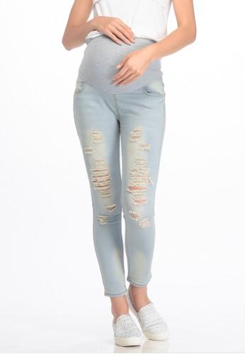 MOOIMOM blue MOOIMOM Skinny Maternity Jeans With Rips Celana Panjang Hamil - Blue MO368AA67VBGID_1