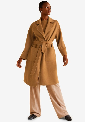 Mango brown Unstructured Wool-Blend Coat 5E67FAA3204060GS_1