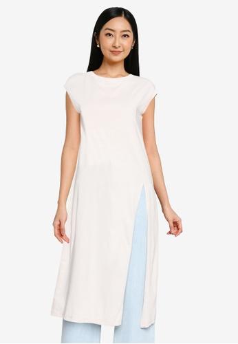 Heather white Woven Tee Dress 023FAAA6FACE49GS_1