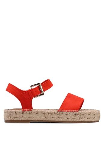 TOPSHOP 紅色 麂皮草編涼鞋 41311SH8690189GS_1