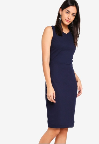 ZALORA BASICS navy V-Neck Sheath Dress 30281AA1034976GS_1