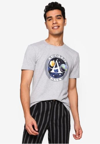 BLEND grey Graphic Print Crew Neck T-Shirt 3891AAA4839907GS_1