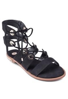 Tie Up Eyelet Flat Sandals
