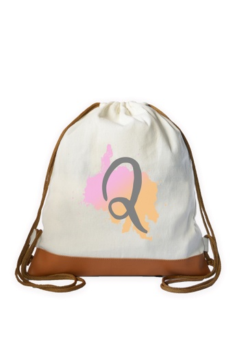 Myriad Print Concepts white Initial Drawstring Bag MY418AC0ILXLPH_1