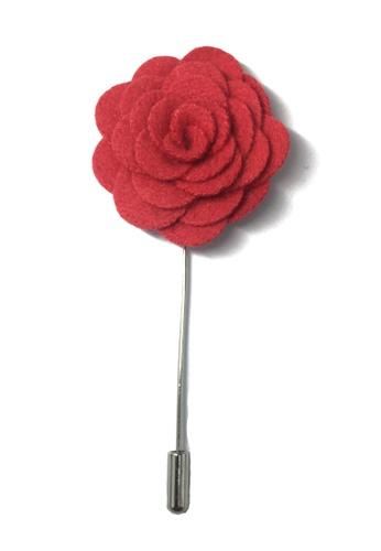 Splice Cufflinks red Raspberry Red Classic Camellia Fabric Flower Lapel Pin SP744AC58UCNSG_1