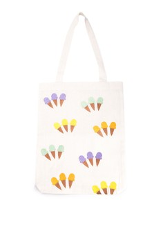 Ice Cream Sundae Embroidered Canvas Tote Bag