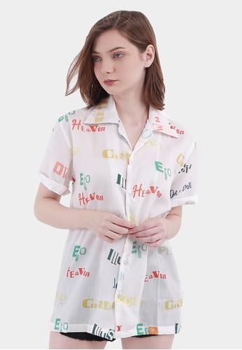 Monstore white Journey Pattern Cubarn Shirt D8114AAFBEC179GS_1