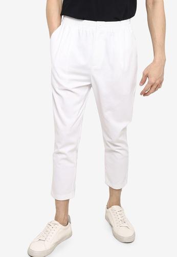 ZALORA BASICS white Elastic Waist Cropped Trousers 97481AA932A876GS_1