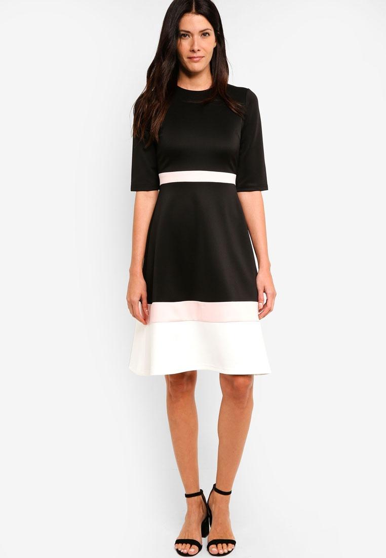 Color Midi Blush Dress White Black ZALORA Block RR5wqr