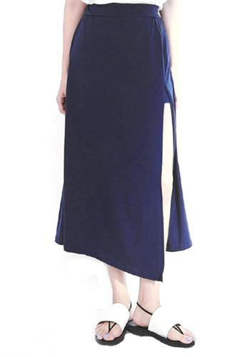 Sesura black Side Slide Asymmetrical Maxi Skirt F5B51AAC9C9E6BGS_1