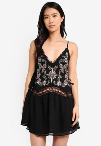 River Island black Embellished Drop Waist Dress RI009AA0T19PMY_1