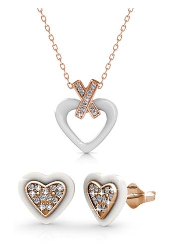 Her Jewellery white Heart Ceramic Set (White) - Crystals from Swarovski® 176F5ACD2DA678GS_1
