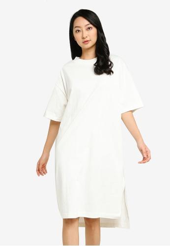 GLOBAL WORK white Slit Midi Dress 15D61AAF199EB9GS_1