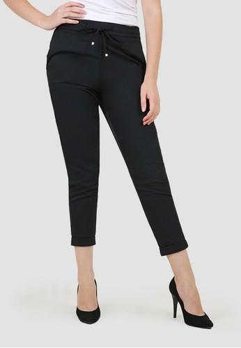 MISSISSIPPI black Celana Bahan Panjang Wanita Roll Up A05988M Hitam D15D0AA737389BGS_1