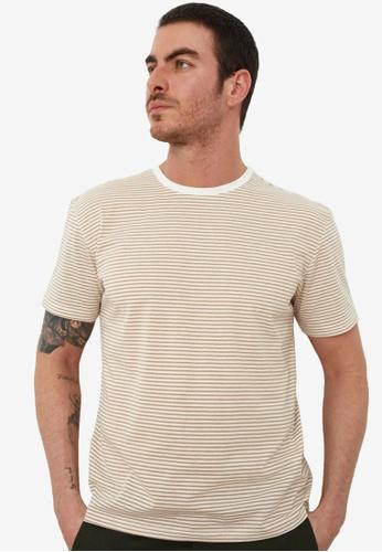 Trendyol beige Striped T-Shirt D7989AA09C4DE9GS_1