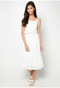 Dainty White Lattice Top Dress