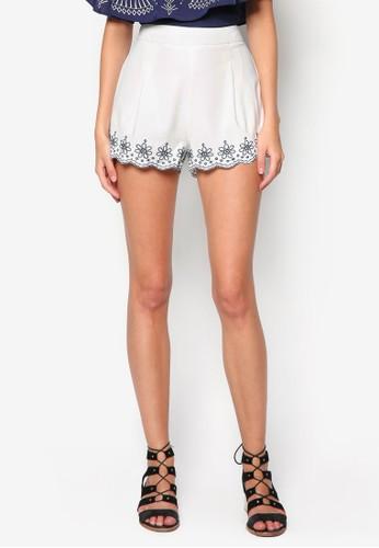 繡花扇貝邊飾短褲zalora 衣服評價, 服飾, 休閒短褲
